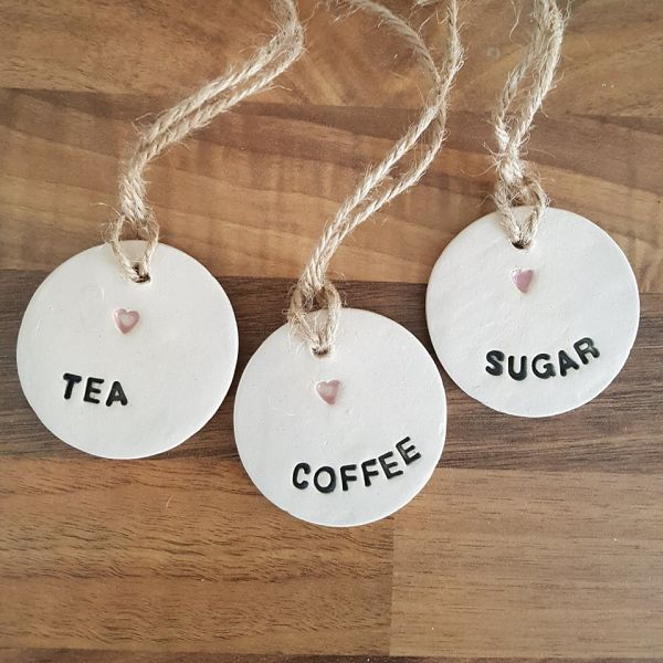 Tea Coffee Amp Sugar Ceramic Tags Set Of 3 Charlotte