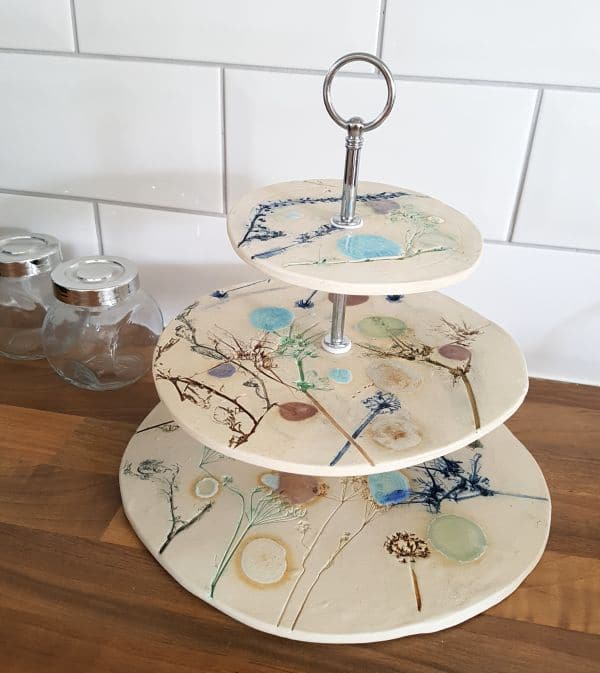 botanical blooms ceramic cake stand