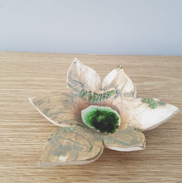 ceramic flower tea light bowl