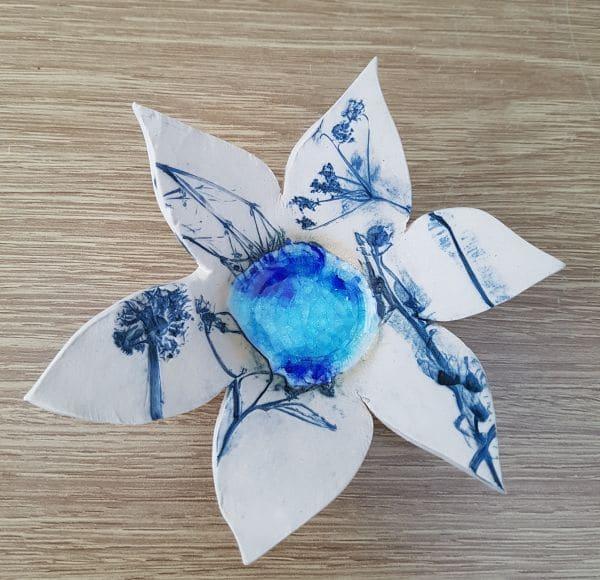 blue ceramic flower ring dish