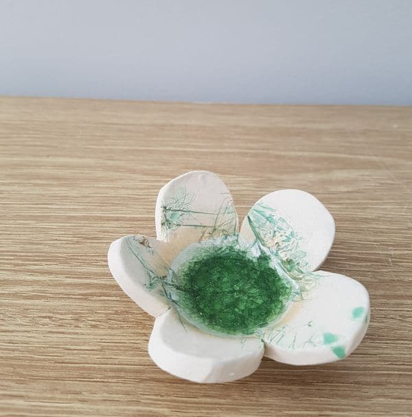 green ceramic petal dish