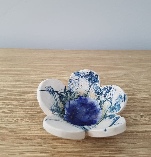 blue ceramic flower dish