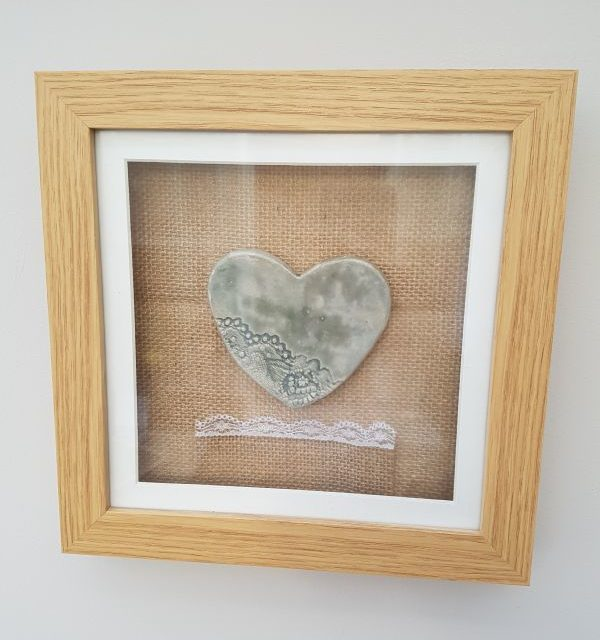 framed ceramic heart