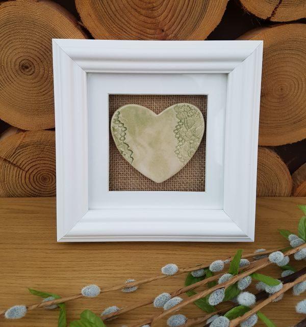 ceramic lace heart in frame