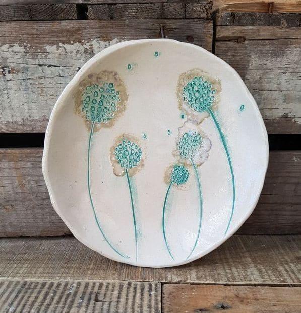 mint green ceramic dandelions dish