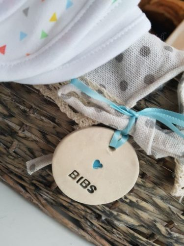 ceramic newborn bib tag