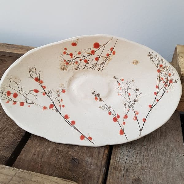 red berries ceramic oval dish