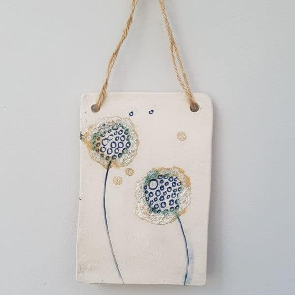 blue dandelion plaque