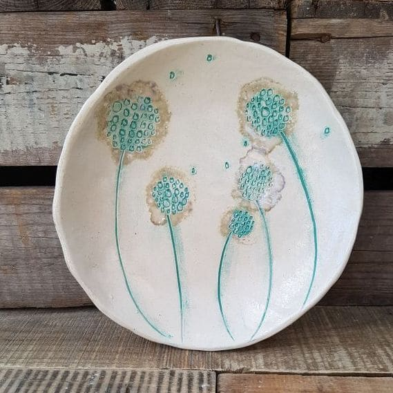 mint green dandelion dish