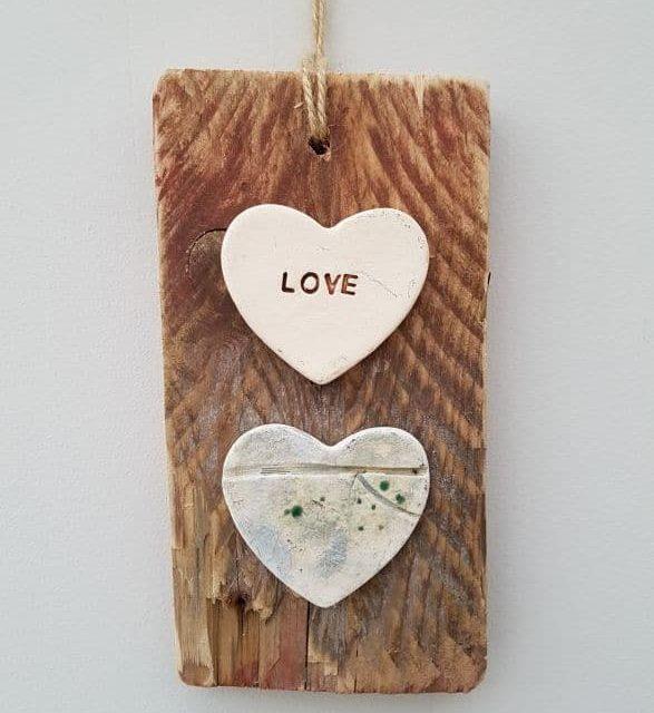 mixed media wall hanging love