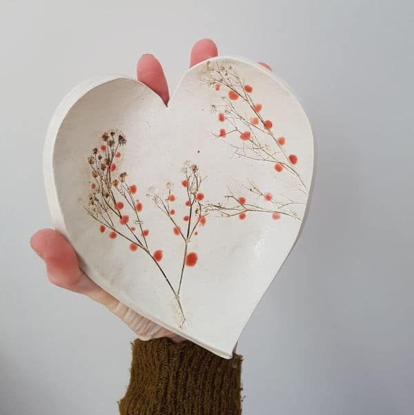 red berries ceramic heart dish