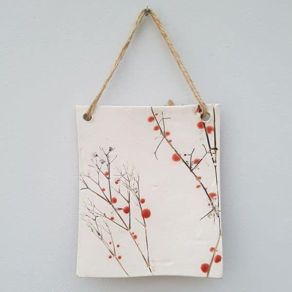 red berries ceramic plaque