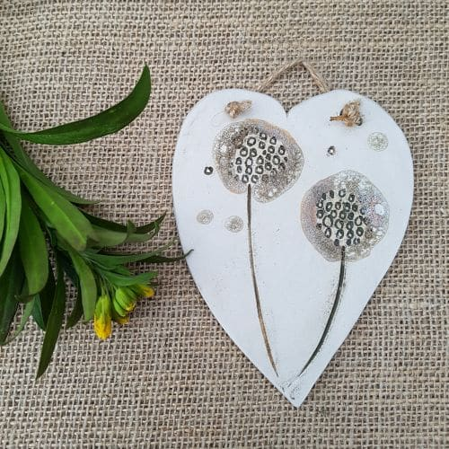 dandelion heart wall hanging
