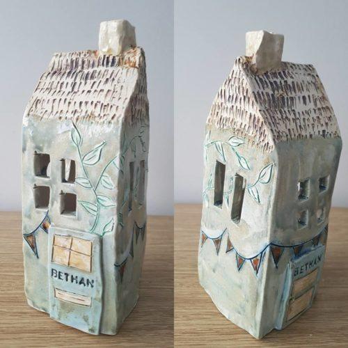personalised ceramic tea light house