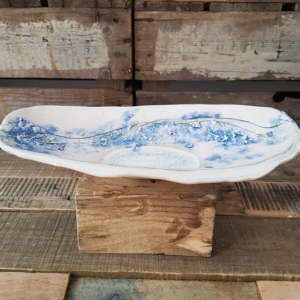 elongated blue sea line dish