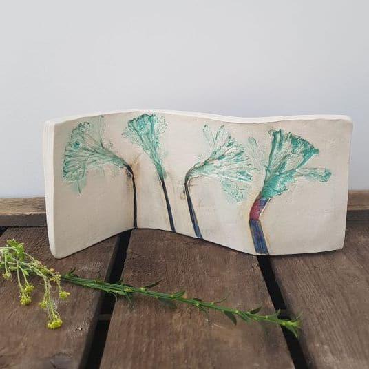 daffodil curved ceramic art
