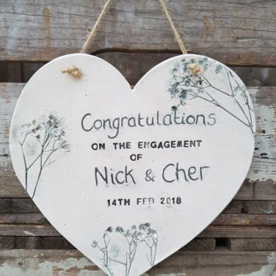 engagement personalised heart hanging