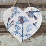 blue flowers ceramic heart hanging