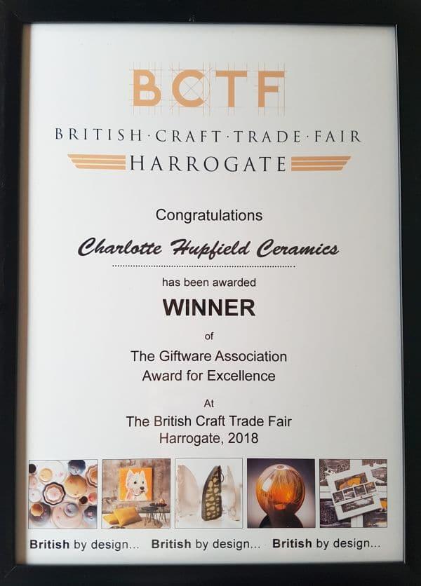 BCTF award Charlotte Hupfield Ceramics