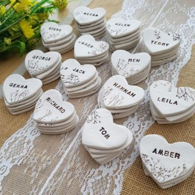 floral ceramic hearts personalised wedding favours