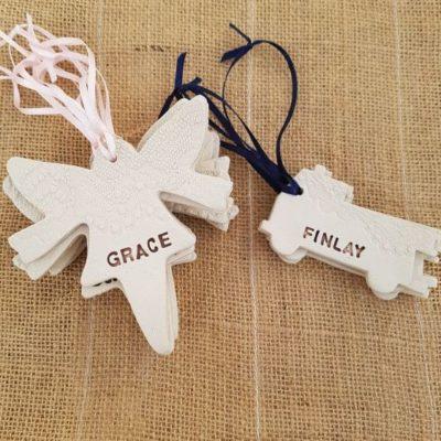 fairy & firetruck ceramic wedding favours for children