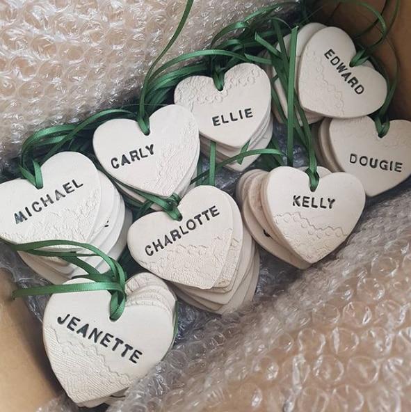 personalised ceramic wedding favours