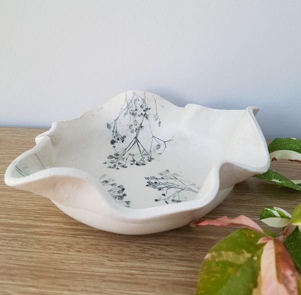 grey flower bowl