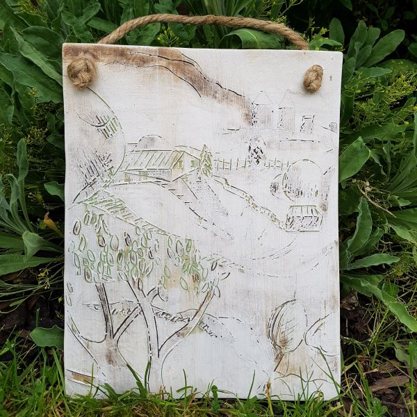winter countryside ceramic plaque