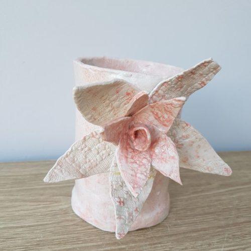 ceramic pink flower vase