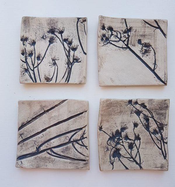 rustic daisy square ceramic tiles