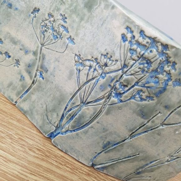 botanical ceramic curved art