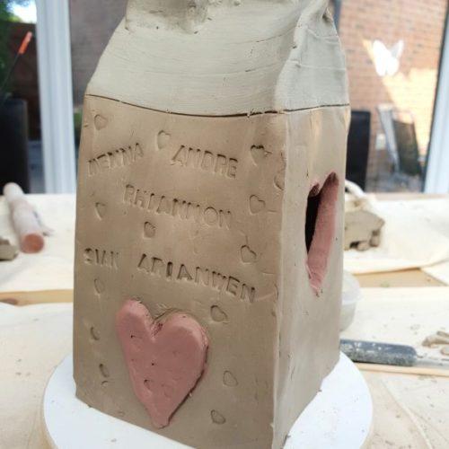 ceramic tea light house workshop