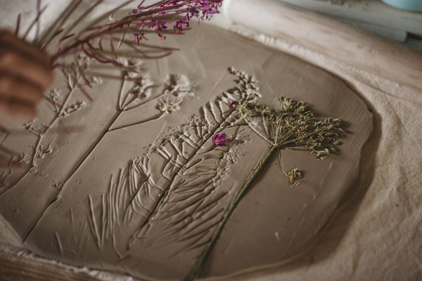 flower impressions in clay