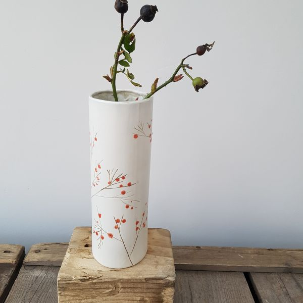 red berries cylinder vase