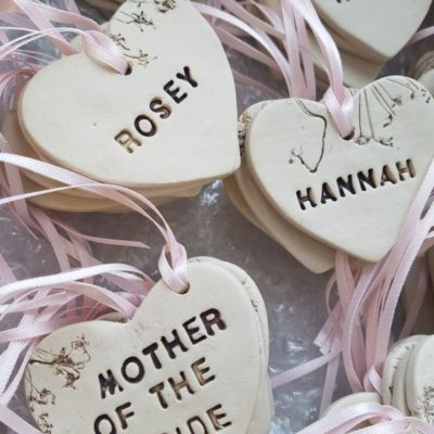 ceramic heart wedding favours with ribbon