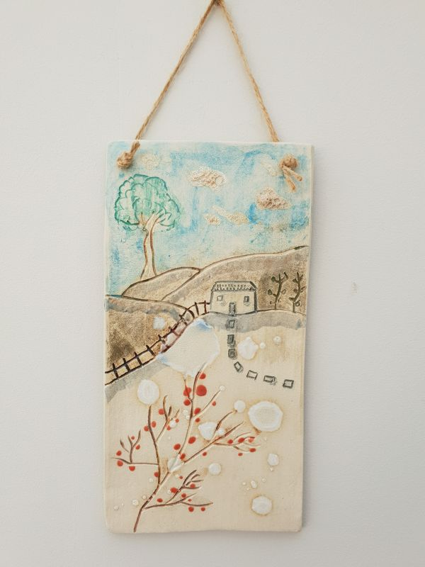 countryside cottage ceramic plaque
