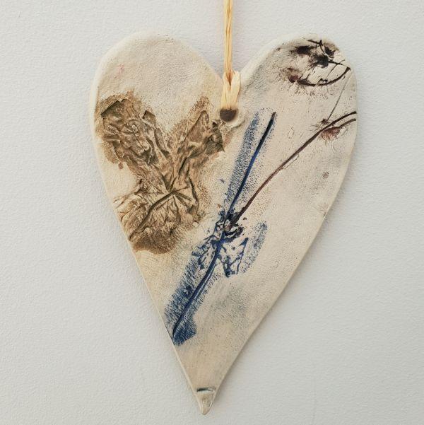botanical ceramic heart