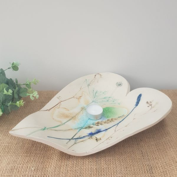 botanical heart ceramic bowl