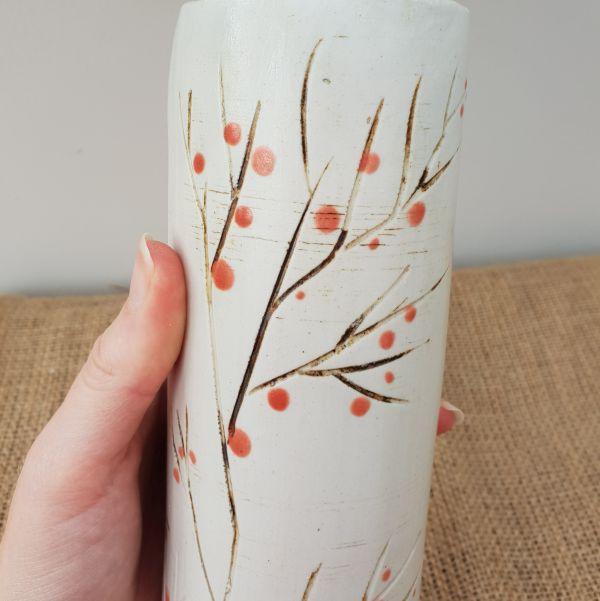 red berries ceramic vase