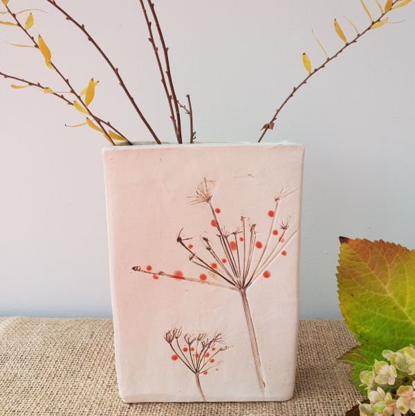 red berries ceramic vase