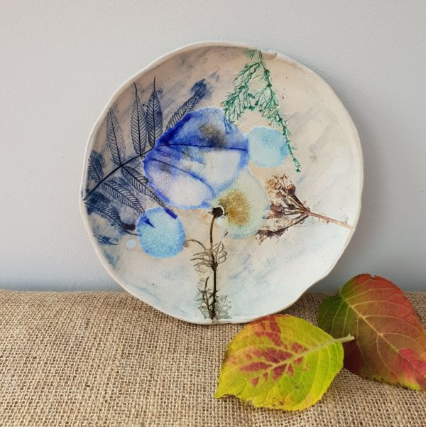 botanical blooms ceramic dish