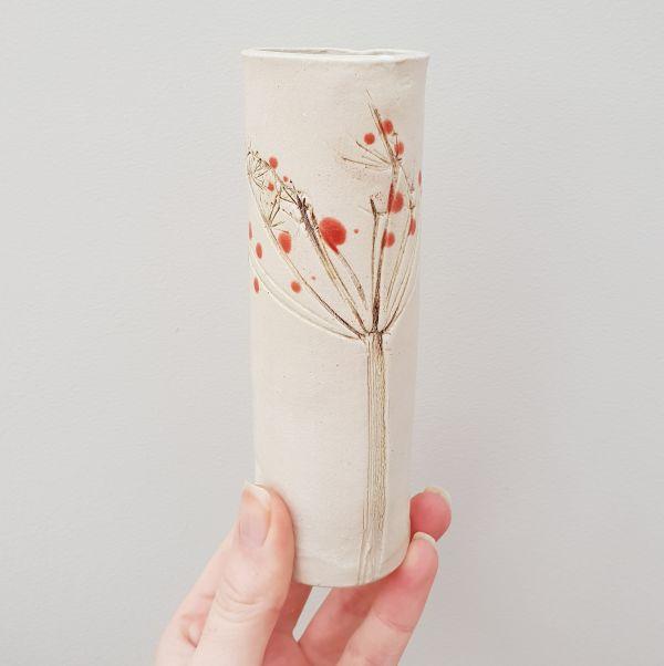 Red Berries Ceramic Bud Vase