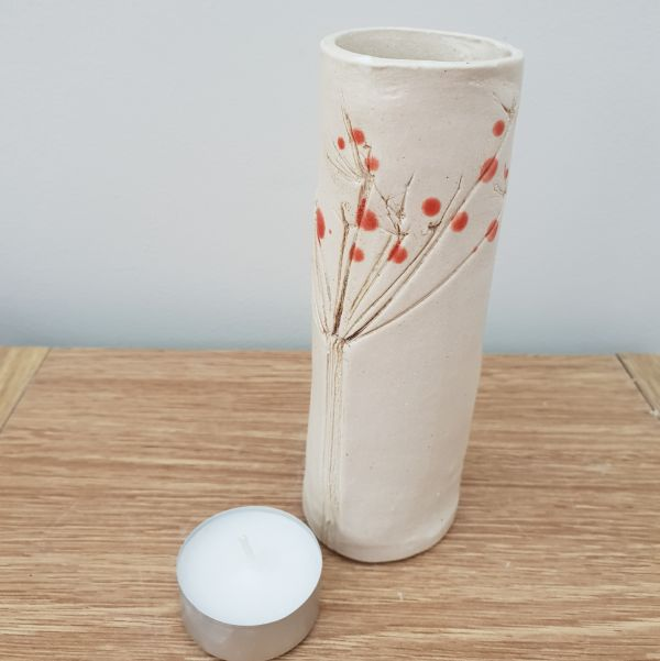 Red Berries Ceramic Bud Vase