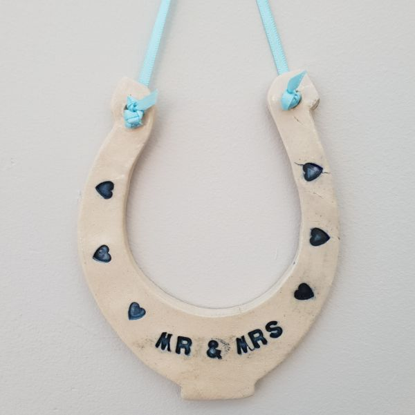 mr & mrs ceramic horseshoe