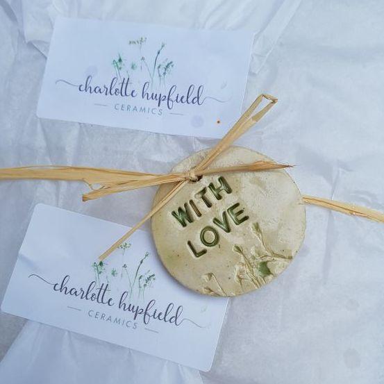 with love handmade ceramic tag