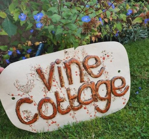 red berries personalised house sign