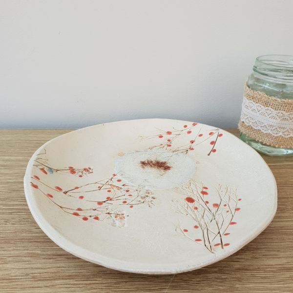 red berries ceramic dish