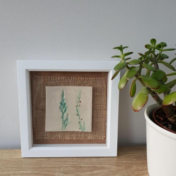 botanical ceramic tile in frame