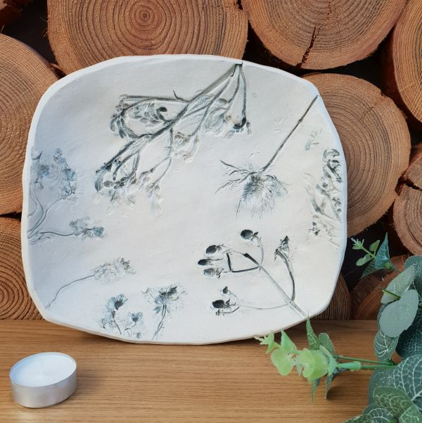 grey floral ceramic dish