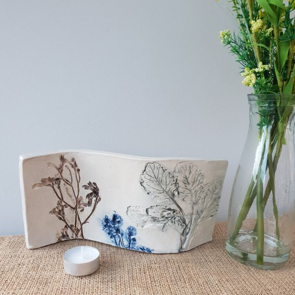 botanical blooms ceramic curved art